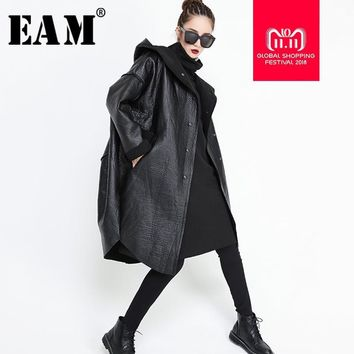 Trendy [EAM] 2018 New Autumn Winter Hooded Long Sleeve Black Pocket Split Joint Thicken PU Leather Jacket Women Coat Fashion Tide JG637 AT_94_13