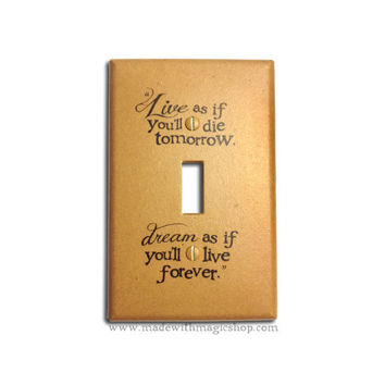 Live And Dream (Brown) - Handmade Switch Plate