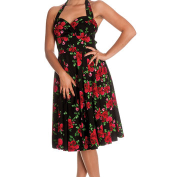 This adorable dress perfect for your valentine's day dinner date or everyday outfits, admiring your mirror's reflection while draped in this red rose print A-line 50's inspired pinup dress, sleeveless, adjustable halter straps, under bust seam with gauging