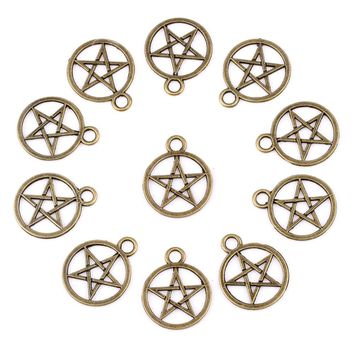 20 Pieces Magic Pentacle Star Protection Charms Findings for Jewelry Pendant Necklace Making 20mm