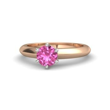 Round Pink Sapphire 18K Rose Gold Ring