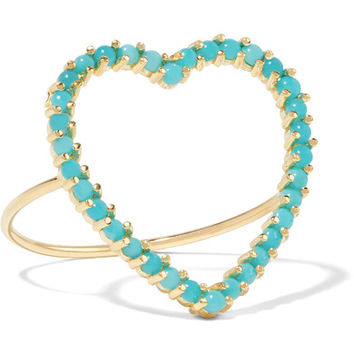 Jennifer Meyer - Open Heart 18-karat gold turquoise ring