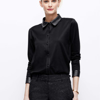 Faux Leather Trim Button Down Shirt
