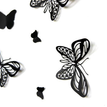 Pop Up Black Butterflies,Butterfly Wall Art,Paper Butterflies,Black Butterflies,3D Wall Decor