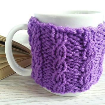 Coffee Mug Holder – Coffee Mug Cozy - Purple Coffee Cozy – Coffee Mug Warmer – Coffee Warmer – Coffee Cup Holder - Knit Cozy - Amethyst