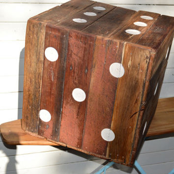 Coffee table made from recycled wood / timber. Giant Dice! Industrial / vintage / rustic by Who The Dickens