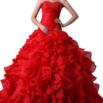 Emma Y Gorgeous Sweetheart Ball Gown Organza Quinceanera Dresses Long