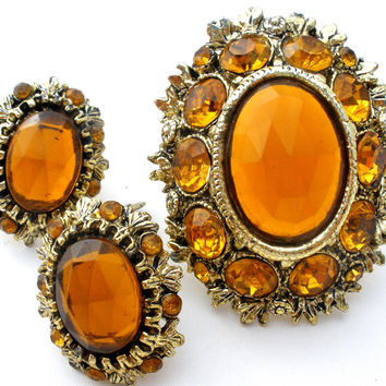 Vintage Citrine Rhinestone Set Brooch & Earrings
