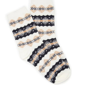 Diamond-Patterned Crew Socks