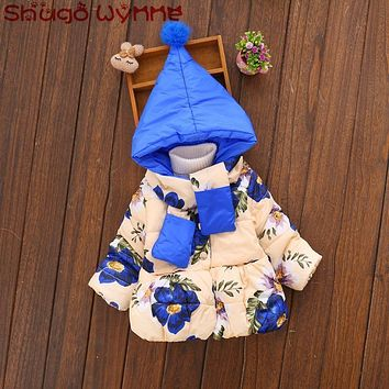 Winter Baby Girls Cotton Down Long Sleeve Hooded Flower Print Snow Wear Outerwear Coat Kids Warm Thick Parkas + Scraf casaco