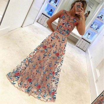 CREYLD1 Woman Maxi  Dress Long Sleeves Lace Embroidery with pearl Elegant Embroidery Floral Dresses  Formal Evening Party