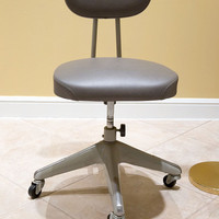 Grey Okamura Retro Industrial Swivel Desk Chair in Amazing Condition
