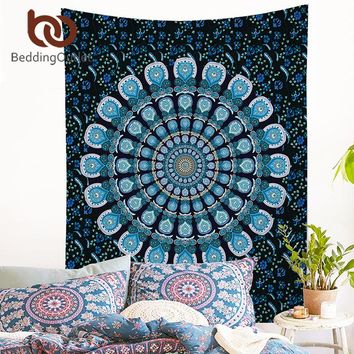 Peacock Indian Mandala Tapestry Wall Hanging
