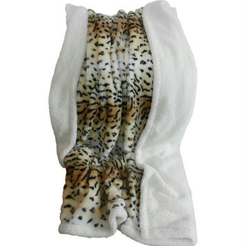 Lavish Home Fleece Sherpa Blanket Throw - Tiger