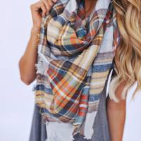 Blanket Scarf- Orange/Brown