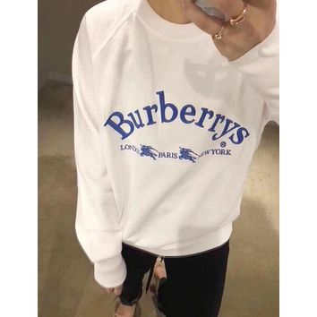 """BURBERRY"" Trending Women Men Stylish Letter Embroidery Long Sleeve Round Collar Lovers Sweater Pullover Top White I13040-1"