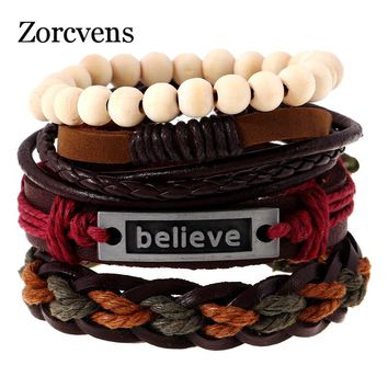ZORCVENS 4Pcs/Set Punk Letter Believe Bracelet Mulitlayer Hemp Rope Woven Beaded Leather Bracelet for Men Women