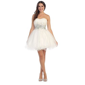 Poofy Short Homecoming Dress White Strapless A Line Sequins