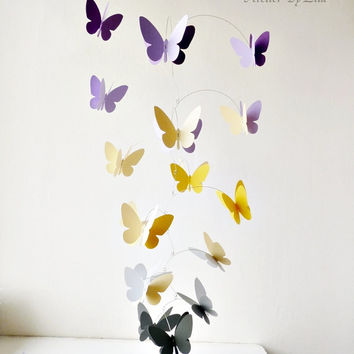 3D Butterfly Mobile, Kinetic mobile, Hanging mobile, Nursery decor, Grey yellow lavender butterflies mobile