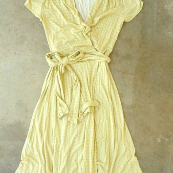 Yellow Song Bird Wrap Dress [2309] - $42.00 : Vintage Inspired Clothing & Affordable Summer Dresses, deloom | Modern. Vintage. Crafted.
