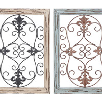Wood Metal Wall Panel with Intricate Design - Set of 2