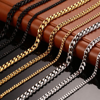 Men's  Chain Necklace  24/30 inch  Long Necklace 3/5/7MM Wide Necklace for Men Titanium Steel Link Chain Necklaces Men