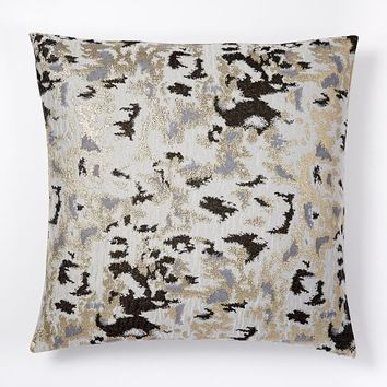 Brocade Abstract Pillow Cover - Platinum