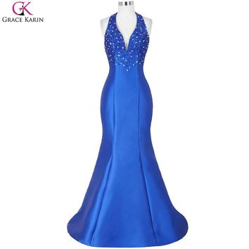 Grace Karin Royal Blue Mermaid Prom Dresses V Neck Backless Halter Satin Robe Sirene Formal Gowns Long Wedding Party Dress Prom