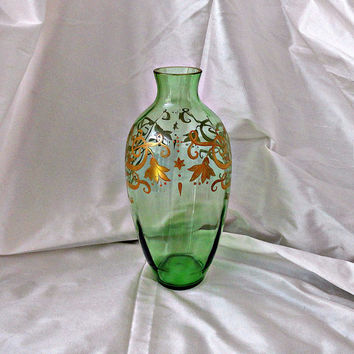 Art Nouveau Green Glass Vase Glit Hand Painted Flowers