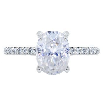 **NEW Oval Crushed Ice Moissanite 4 Prongs Diamond Accent Ice Cathedral Solitaire Ring