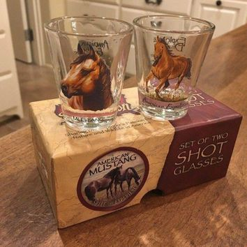 AMERICAN EXPEDITION MUSTANG SHOT GLASSES GIFT SET OF 2 - EUC