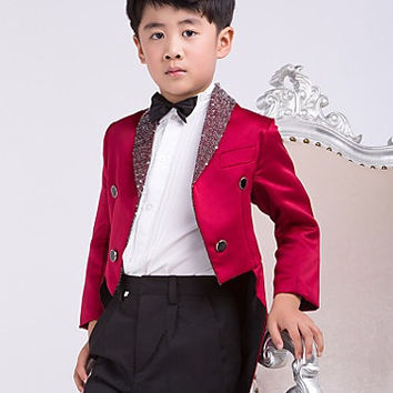 Four Pieces Burgundy Swallow-tail Ring Bearer Suit