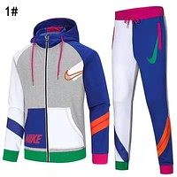 Nike Trending Women Men Long Sleeve Shirt Sweater Pants Sweatpants Set Two-Piece Sportswear 1#