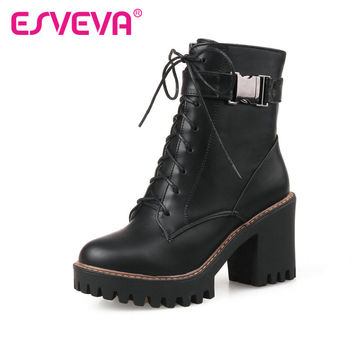 ESVEVA  2016 Fashion Women Boots Square High-Heel PU Zipper  Ankle Boots Round Toe Platform Ladies Motorcycle Boots Size 34-43