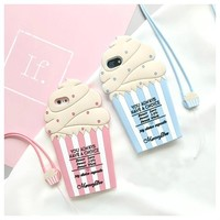 "For iphone X Case 5.8"" 3D Cartoon Summer Ice Cream Soft Silicon Phone Back Cover For IPhone 5 5S SE 5C 6 6S Plus 7 Plus 8 Plus"