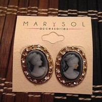 Women Fashion Jewelry Retro Vintage Cameo Earrings Rhinestones Silver, Gold Rhodium Casual
