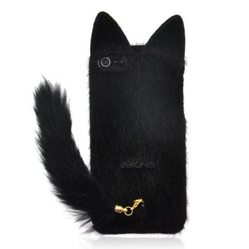 Fluffy Cat with Tail Case for iPhone 4/ 4S-black