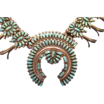 Zuni Petite Point Silver and Turquoise Squash Blossom Necklace