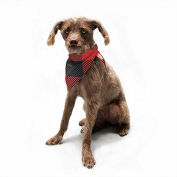 "Kess Original ""Black And Red Plaid"" Black Red Pattern Digital Pet Bandana"