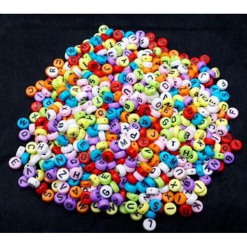 100pcs Colors Acrylic Individual Alphabet Letter Coin Round Flat Spacer Beads