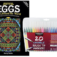 Sargent Art Washable Firm Brush Tip Markers in a Case, Set of 20 and Dover Artful Eggs from Around the World Stained Glass Adult Coloring Book by Noble: Stress Relieving Patterns to Relax and Enjoy