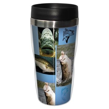 Bass Collage Travel Mug - Premium 16 oz Stainless Lined w/ No Spill Lid