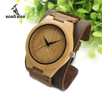 BOBO BIRD Mens Bamboo Wood Watches Chicago Bracelets Detachable Wide Genuine Leather Band Straps with Gift Box