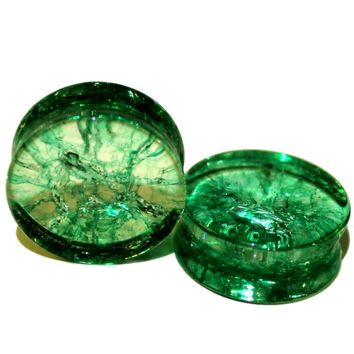 PAIR-TEAL SHATTERED QUARTZ-Organic Flesh Tunnels- Stone Ear Plugs-Ear Gauges-