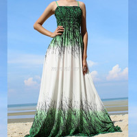 Green Maxi Dress - Bridesmaid Dress Plus Size Prom Long Evening Beach Party White Chiffon Women