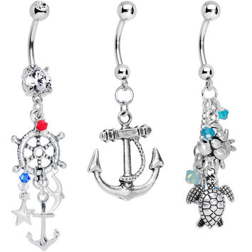 Clear Cubic Zirconia Nautical Adventures Dangle Belly Ring 3 Pack