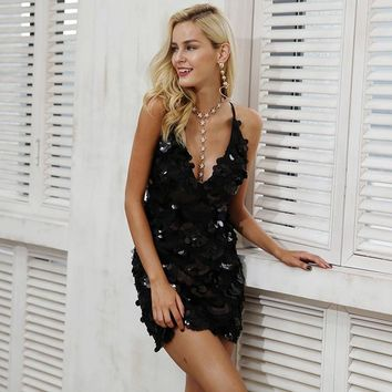 Strap Black Sequin V Neck Back Zipper Backless Mini Dress