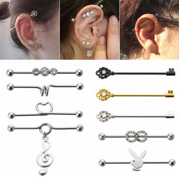 1 pcs Hot sale Surgical Steel Industrial Bar Scaffold Ear Barbell Ring  Body Piercing Earrings Piercing Jewelry free shipping