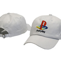 Pretty Boy Playstation Logo Snapback White Sports Cap Casquette Baseball Denim Polo Strapback Hat