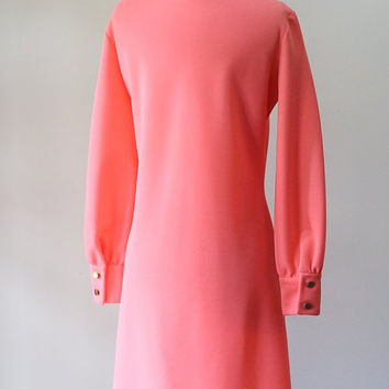 Vintage Lacoste Dress Pink Shift 1970s Casual Day Dress Izod Dress Izod Lacoste Chemise Dress Preppy Clothes Coral Pink Dress Medium Large